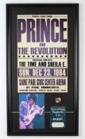 """Prince & The Revolution """"Purple Rain Tour"""" 16.5x29 Custom Framed Poster Display with Original Backstage Pass & Concert Pin at PristineAuction.com"""