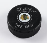 "Ed Belfour Signed Blackhawks Logo Hockey Puck Inscribed ""HOF 2011"" (Beckett COA) at PristineAuction.com"