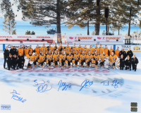 Bruins 16x20 Photo Team-Signed by (5) with Jack Studnicka, Brad Marchand, Patrice Bergeron, David Pastrnak & Trent Frederic (YSMS COA) at PristineAuction.com