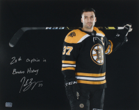 """Patrice Bergeron Signed Bruins 16x20 Photo Inscribed """"20th Captain in Bruins History"""" (YSMS COA) at PristineAuction.com"""