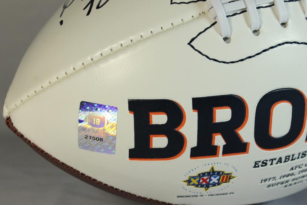 1985a12493c Peyton Manning & John Elway Signed Broncos Logo Football (Manning Hologram  & Elway Hologram)