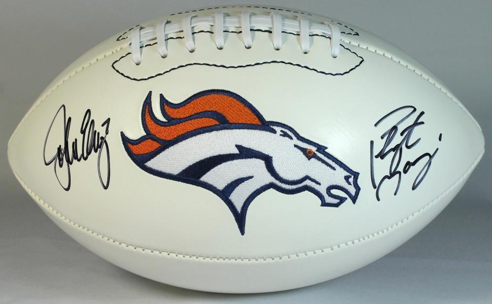Peyton Manning   John Elway Signed Broncos Logo Football (Manning Hologram    Elway Hologram) 3554fb894