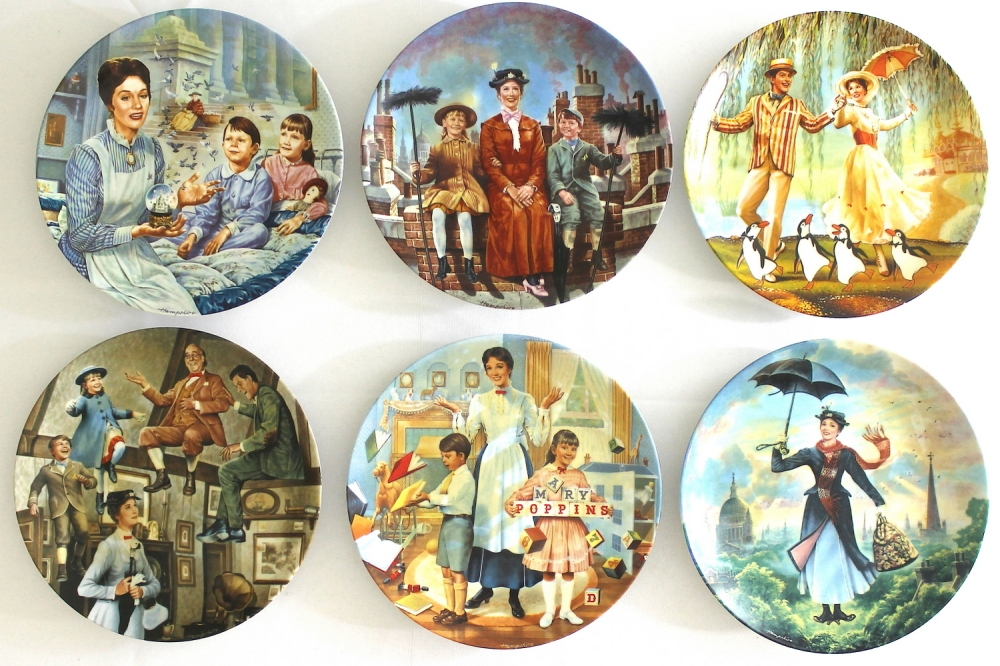 Lot of (6) Mary Poppins Limited Edition Decorative Porcelain Plates (Knowles COA) & Online Sports Memorabilia Auction | Pristine Auction