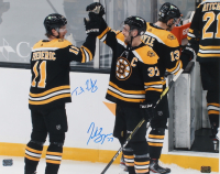 Patrice Bergeron & Trent Frederic Signed Bruins 16x20 Photo (YSMS COA) at PristineAuction.com