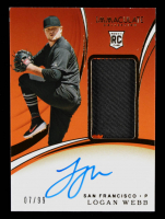 Logan Webb 2020 Immaculate Collection #131 Jersey Autograph RC #07/99 at PristineAuction.com