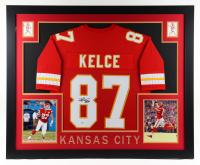 Travis Kelce Signed 35x43 Custom Framed Jersey Display (Beckett Hologram) (See Description) at PristineAuction.com