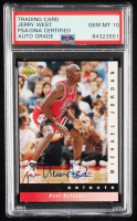 Jerry West Signed 1992-93 Upper Deck Jerry West Selects #JW4 Michael Jordan / Best Defender (PSA Encapsulated) at PristineAuction.com