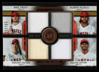 Justin Upton / Albert Pujols / Shohei Ohtani / Mike Trout 2020 Topps Museum Collection Primary Pieces Four Player Quad Relics Copper #FPRTPOU #22/75 at PristineAuction.com