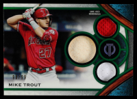 Mike Trout 2021 Topps Tribute Triple Relics Green #TTRMT #90/99 at PristineAuction.com