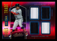Ronald Acuna Jr. 2020 Absolute Tools of the Trade Quad Swatches Spectrum Red #6 at PristineAuction.com