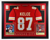 Travis Kelce Signed 35x43 Custom Framed Jersey Display (Beckett Hologram) at PristineAuction.com