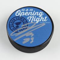 Dmitrij Jaskin Signed LE Blues 10-8-15 Opening Night Logo Hockey Puck (JSA COA) at PristineAuction.com