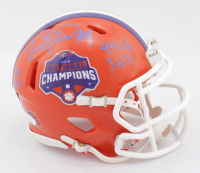 """Travis Etienne Signed 2018 Clemson Tigers National Champions Logo Speed Mini Helmet Inscribed """"All In"""", """"44-16"""" & """"3 TDs"""" (JSA COA) at PristineAuction.com"""