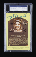 Phil Rizzuto Signed Hall of Fame Plaque Postcard (PSA Encapsulated) at PristineAuction.com
