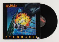 """Def Leppard """"Pyromania"""" Vinyl Record Album Band-Signed by (4) with Rick Savage, Rick Allen, Joe Elliott & Phil Collen Inscribed """"Rock On!"""" (PSA LOA) (See Description) at PristineAuction.com"""