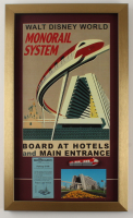 """Disney World """"Monorail System"""" 15x25 Custom Framed Print Display with Vintage Parking Pass, Vintage Souvenir Resin Monorail & Vintage Souvenir Postcard (See Description) at PristineAuction.com"""