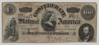 1861 $100 One Hundred Dollar Confederate States of America Richmond CSA Bank Note (see Description) at PristineAuction.com