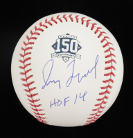 "Greg Maddux Signed Braves 150th Anniversary Logo OML Baseball Inscribed ""HOF 14"" (Beckett COA) at PristineAuction.com"