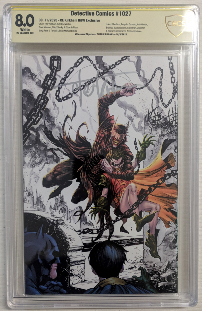 "Tyler Kirkham signed 2020 ""Detective Comics"" Issue #1027 Kirkham Black & White Variant DC Comic Book (CBCS Encapsulated - 8.0) at PristineAuction.com"
