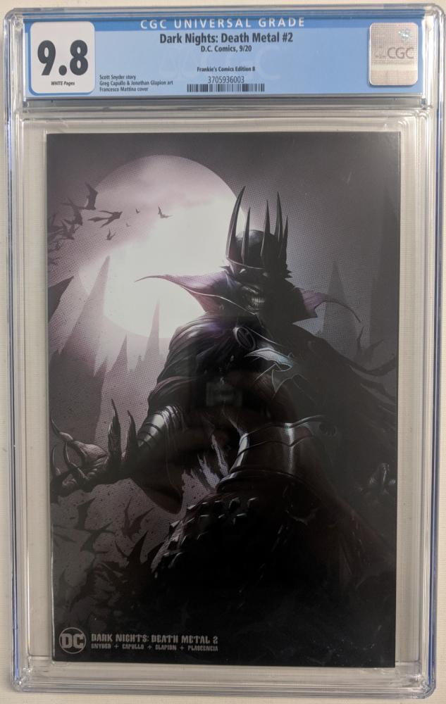 "2020 ""Dark Nights: Death Metal"" Issue #2 Frankie's Comics Variant DC Comic Book (CGC 9.8) at PristineAuction.com"