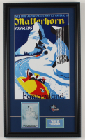 "Disneyland ""Matterhorn"" 15x26 Custom Framed Print with Vintage Portfolio & Vintage Matterhorn Pin (See Description) at PristineAuction.com"