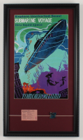 """Disneyland's Tomorrowland """"Submarine Voyage"""" 15x26 Custom Framed Poster Print Display with Vintage """"E"""" Ticket Booklet & Vintage Pin (See Description) at PristineAuction.com"""