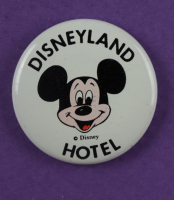 "Disneyland's ""Disneyland Hotel"" 15x26 Print Display with Vintage Match Book, Disneyland Cast Member Uniform Patch, & Cast Member Lapel Pin (See Description) at PristineAuction.com"