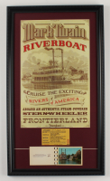 """Disneyland's Frontierland """"Mark Twain Riverboat"""" 15x26 Custom Framed Print Display with Vintage 1968 Steamboat Picture Pamphlet & Vintage Ticket (See Description) at PristineAuction.com"""