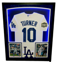 """Justin Turner Signed Dodgers 32x41 Custom Framed LE Jersey Display Inscribed """"2020 WS Champs"""" with 2020 World Series Patch & LED Lights (PSA Hologram) at PristineAuction.com"""