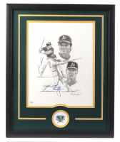 Mark McGwire & Jose Canseco Signed LE Athletics 17.5x21.5 Custom Framed Lithograph Display (JSA COA) at PristineAuction.com