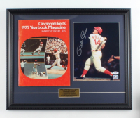 Pete Rose Signed Reds 17x21 Custom Framed Photo Display with 1975 Reds Yearbook (PSA COA & Fiterman Sports Hologram) at PristineAuction.com