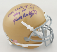 """Rudy Ruettiger Signed Notre Dame Fighting Irish Mini Helmet Inscribed """"Our Lady of Victory Pray For Us!"""" (Ruettiger Hologram) at PristineAuction.com"""