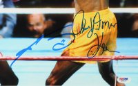 """Sugar Ray Leonard & Tommy """"Hitman"""" Hearns Signed 18x22 Custom Framed Photo Display with Fight Ticket (PSA Hologram) at PristineAuction.com"""