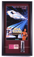 """Disneyland Tomorrowland """"Star Tours"""" 15x26 Custom Framed Print Display with Vintage Ticket Booklet & Star Tours Ride Opening Watch in Original Package at PristineAuction.com"""