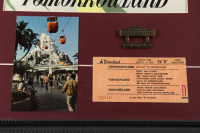 """Disneyland Tomorrowland """"Skyway"""" 15x26 Custom Framed Poster Print Display with Vintage Skyway Postcard, Bronze Pin & Ride Ticket at PristineAuction.com"""