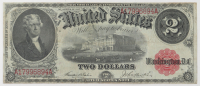1917 $2 Two-Dollar Red Seal U.S. Legal Tender Large-Size Bank Note at PristineAuction.com
