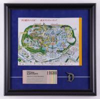 Tokyo Disneyland 16x16 Custom Framed Map Display with Disneyland Pin & Ticket Booklet at PristineAuction.com