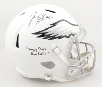 """Jason Kelce Signed Eagles Full-Size Matte White Speed Helmet Inscribed """"Hungry Dogs Run Faster!"""" (JSA COA) at PristineAuction.com"""