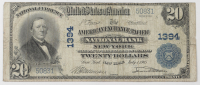 1902 $20 Twenty-Dollar U.S. National Currency Large-Size Bank Note - The American Exchange Pacific National Bank of New York City, New York at PristineAuction.com