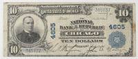1902 $10 Ten-Dollar U.S. National Currency Large-Size Bank Note - The National Bank of the Republic of Chicago, Illinois at PristineAuction.com