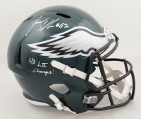 "Jason Kelce Signed Eagles Full-Size Speed Helmet Inscribed ""SB LII Champs"" (JSA COA) at PristineAuction.com"