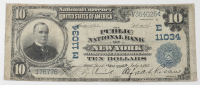 1902 $10 Ten-Dollar U.S. National Currency Large-Size Bank Note - The Public National Bank of New York City, New York at PristineAuction.com