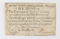 1771 Two Shillings & Six-Pence - North Carolina - Colonial Currency Note at PristineAuction.com