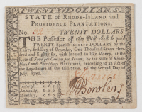 1780 $20 Twenty Dollars - Rhode Island - Colonial Currency Note at PristineAuction.com