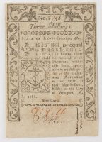 1786 3s. Three Shillings - Rhode Island - Colonial Currency Note at PristineAuction.com