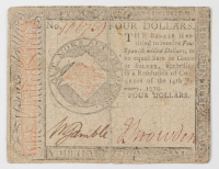 1779 $4 Four Dollars - Continental - Colonial Currency Note at PristineAuction.com