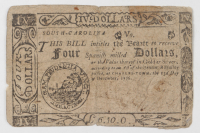 1776 $4 Four Dollars - South Carolina - Colonial Currency Note at PristineAuction.com