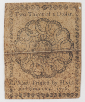 1776 $2/3 Two Thirds-of-a-Dollar - Continental - Colonial Currency Note at PristineAuction.com