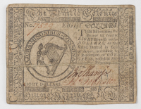 1776 $8 Eight Dollars - Continental - Colonial Currency Note at PristineAuction.com