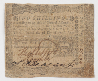 1772 2s. Two Shillings - Pennsylvania - Colonial Currency Note at PristineAuction.com